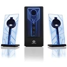 speakers with subwoofer. gogroove basspulse 2.1 stereo speaker sound system with powered subwoofer (blue/black) speakers