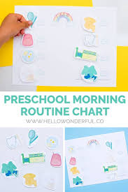 Morning Routine Printable Chart Preschool Morning Routine Chart Free Printable