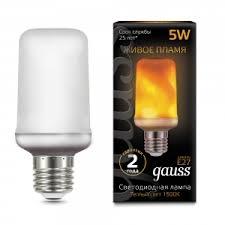 Светодиодная <b>лампа Gauss</b> Led T65 <b>Corn</b> Flame 5W E27 1500K ...