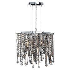 worldwide lighting fiona 3 light polished chrome and multi colored crystal pendant