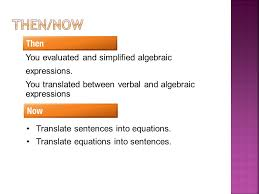 2 translate equations into sentences