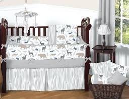 animal crib bedding set sweet designs grey deer animal outdoor woodland baby boy crib bedding set