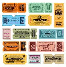 Party Tickets Templates Circus Party And Cinema Vector Vintage Admission Tickets Templates 14