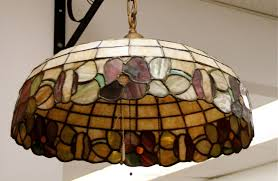 antique leaded glass light fixture sold