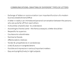 MUNICATIONS DRAFTING OF DIFFERENT TYPES OF LETTERS