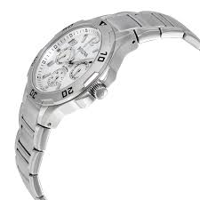 bulova marine star multi function silver dial stainless steel mens bulova