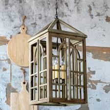 wooden lantern chandelier