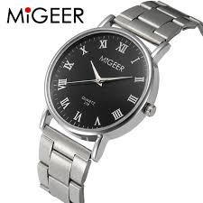 popular crystal watches for men buy cheap crystal watches for men migeer fashion men wrist watch horloges mannen crystal stainless steel quartz watch bracelet mens watches top