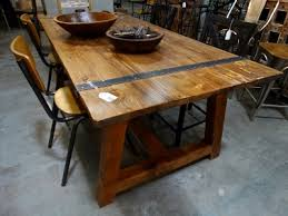 outerlands gallery metal wood furniture. Outstanding This Wooden Dining Table Is Accented The Metal Bands Intended For Wood Popular Outerlands Gallery Furniture