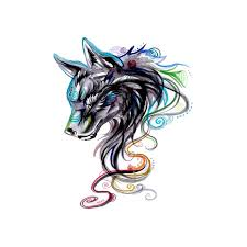 Colourful Stripes Wolf Temporary Tattoo