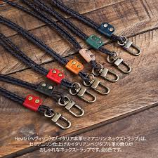 an italian genuine leather semi aniline neck strap of hevitz ヘヴィッツ is a stylish neck strap using the italian vegetable semi aniline leather