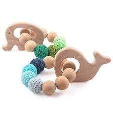 Baby Wooden Teethers Organic Teething Bracelet ... - Amazon.com