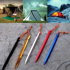 <b>5Pcs</b>/set <b>18cm</b> Outdoor Camping Trip <b>Tent Peg</b> Aluminum Alloy ...