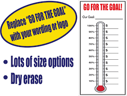 Goal Thermometers Percent And Line Gradations Dry Erase
