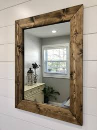 Mirror With Wood Frame Design Dark Walnut Mirror Wood Frame Mirror Handmade Rustic Wood