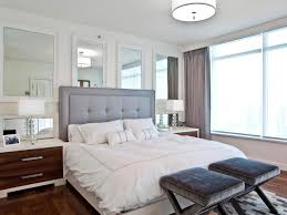 appealing small bedroom look bigger and gray modern headboard with minimalis pendant lamp
