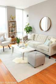 furniture for condo. Open Shelving, Plants And Round Mirror. A Neutral Living Room Perfect For Any City Girl! Love The Gold Accents Quality Furniture. Furniture Condo
