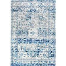 vintage medallion lela light blue 5 ft round rug