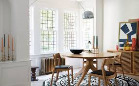 arco floor lamp over dining table