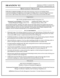Restaurant Resume Example Restaurant Manager Resume Sample Monster Com Hospitalit Sevte 20
