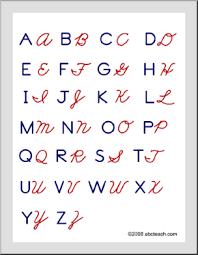 Manuscript And Cursive Handwriting Chart Zb Style Abcteach