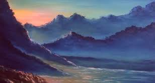how to draw free oil painting tutorials sunset end of the day at mountains paint with dilip art