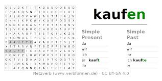 Worksheets | Verb kaufen | Exercises for conjugation of German ...