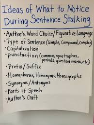 Mentor Sentence Anchor Chart Going Deep During Sentence Stalking When Students Look At