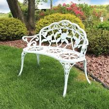 white garden bench.  White Shop Sunnydaze 2Person Classic Rose Cast Aluminum White Outdoor Garden  Bench  Free Shipping Today Overstockcom 16636372 For