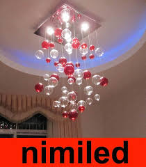 nimi761 red clear glass bubbles ball chandelier lights pendant lamp fixture living room dinning room bar hotel villas lighting light hanging pendant glass