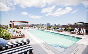 the rooftop and pool at the williamsburg hotel