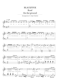 Blackpink - Rosé - On the ground - easy piano solo/words Sheet music for  Piano (Solo)