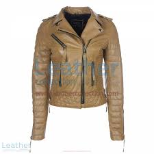 biker womens camel quilted leather jacket front view