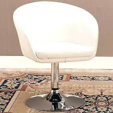 swivel vanity stool chair in white leather like vinyl l84