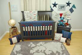 mechanic crib baby bedding luxury navy and red vintage airplane set in a transportation of beddings