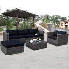 patio couch set. Costway 6-piece Rattan Wicker Patio Furniture Set Sectional Sofa Couch Yard W/Black