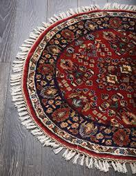 rugsville red persian tabriz round blue wool oriental rug 90 x 90