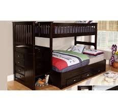 Expresso Staircase Twin over Full Bunk Bed Discovery World Furniture with Stairs - Factory Beds