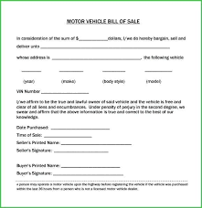 Motor Vehicle Bill Of Sale Template Amazing Models Auto Form