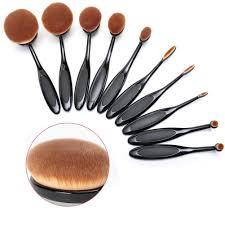 beauty kate set of 10pcs professional oval toothbrush makeup brush set black
