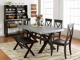 Furniture: Dining Set With Bench Luxury Keaton Charcoal Finish Trestle Table  Casual Dining Set -