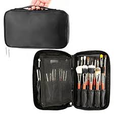 samtour professional cosmetic case makeup brush organizer makeup artist case with belt strap holder multi functional