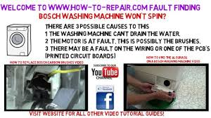 Washer Not Draining Or Spinning Bosch Washing Machine Will Not Spin Fault Finding Guide Youtube