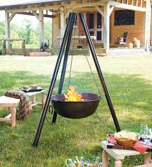 steel campfire cauldron tripod fire pit with cooking grill grate