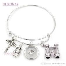 whole wire bangle interchangeable snap jewelry telescope cing bracelet expandable bangle snap on bracelets for cer gift s charm bracelets