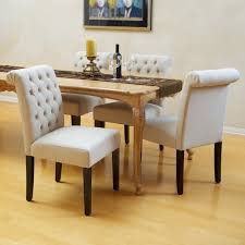 elmerson tufted ivory linen dining chair set of 2 modern for luxurious linen dining room chairs