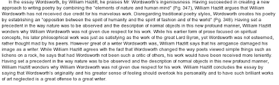summary of william hazlitt s wordsworth essay at com essay on summary of william hazlitt s wordsworth essay