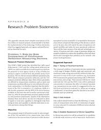 Research Problem Statement Appendix A Research Problem Statements Assessment Of Continuous