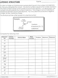 Periodic Table Chart Worksheet Answers Atomic Structure And The Periodic Table Worksheet Answers