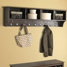 Hanging Coat Rack With Storage Magnificent Home Wall Mounted Hanging Entryway Shelf Organizer Coat Rack Storage